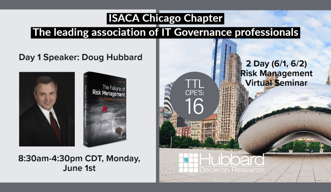 Doug Hubbard Presents at ISACA Monday, June 1st, 8:30am-4:30pm CDT